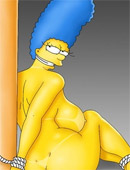 Nude cartoon marge simpson is tied and forced to suck dick.